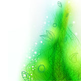 Summer decorative hand drawing background with lines and leaves Royalty Free Stock Photo