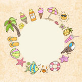 Summer decorative round banner Royalty Free Stock Image