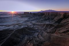 Sunrise rays in the Utah desert, USA. Summer desert sunrise landscape, Utah, USA Royalty Free Stock Photo
