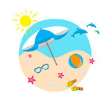 Summer design background. Beach flat design vector illustration Royalty Free Stock Photos