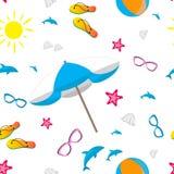 Summer design background. Summer design seamless pattern. Beach flat design vector illustration Royalty Free Stock Images