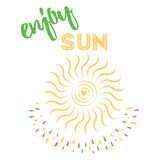 Summer design for card or background decoration. Sun icon with heart. Yellow sun symbol says 'Enjoy sun'. Summer design for card or background decoration. Sun Stock Illustration