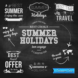 Summer design on chalkboard background. Set of typographic label Royalty Free Stock Image