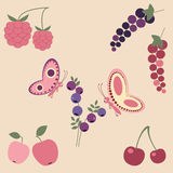 Summer design elements. Kids illustration. Cute summer elements for design. Kids illustration Stock Photography