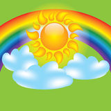 Summer design elements sun clouds. And rainbow Royalty Free Stock Images