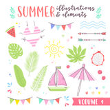 Summer design illustrations with fruits, tropical and beach elem Stock Photography