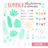 Summer design illustrations with fruits, tropical and beach elem Stock Photo