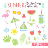 Summer design illustrations with fruits, tropical and beach elem Royalty Free Stock Photo
