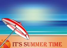 Summer design with lettering - Its summer time stock illustration