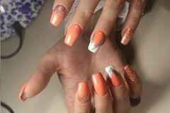 Summer design of nails. Youth manicure royalty free stock photography