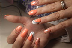 Summer design of nails. Youth manicure stock image