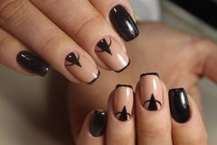 Summer design of nails. Youth manicure stock photo