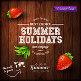 Summer design. Poster for summer holidays. Wooden background and Stock Photography