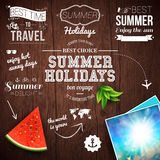 Summer design. Poster for summer holidays. Wooden background and Royalty Free Stock Photos