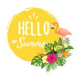 Summer design for season postcard. Vector cartoon style Hello Summer design for season postcard or poster with floral composition with tropical leaves and birds Royalty Free Stock Photography