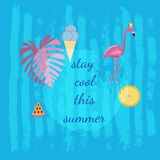 Summer design.  Stay cool this summer text vector illustration