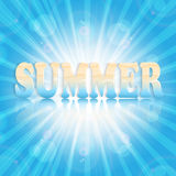 Summer design sun on an blue background Stock Photography