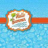 Summer design template.Funny Sea Life,Sun label Royalty Free Stock Photo