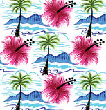Summer designs of the beach.and beautiful flowers. Royalty Free Stock Photo