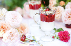 Summer dessert with cream and berries Stock Photography