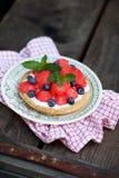 Summer dessert with cream Royalty Free Stock Photos