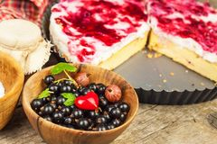 Summer Dessert with Currant and Cheesecake Cream. Healthy pleasure. Summer Dessert with Currant and Cheesecake Cream. Healthy pleasure Royalty Free Stock Photos