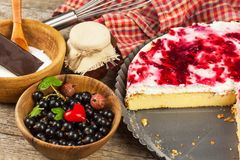 Summer Dessert with Currant and Cheesecake Cream. Healthy pleasure. Summer Dessert with Currant and Cheesecake Cream. Healthy pleasure Stock Photography
