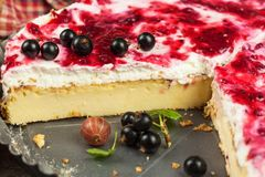 Summer Dessert with Currant and Cheesecake Cream. Healthy pleasure. Summer Dessert with Currant and Cheesecake Cream. Healthy pleasure Royalty Free Stock Image
