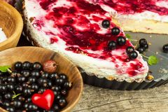 Summer Dessert with Currant and Cheesecake Cream. Healthy pleasure. Summer Dessert with Currant and Cheesecake Cream. Healthy pleasure Stock Photo