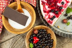 Summer Dessert with Currant and Cheesecake Cream. Healthy pleasure. Summer Dessert with Currant and Cheesecake Cream. Healthy pleasure Stock Image