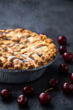 Summer dessert. Homemade cherry pie royalty free stock photography