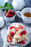 Summer dessert lazy dumplings with cottage cheese Royalty Free Stock Photography