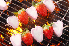 Summer dessert with marshmallow and strawberries Stock Photos