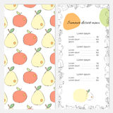 Summer dessert menu with apples and pears on the cover. Stylish template for your summer offer Stock Photography
