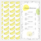 Summer dessert menu with bananas on the cover. Stylish template for your business Royalty Free Stock Images