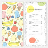 Summer dessert menu with fruits and ice cream. Vector template. In the style of hand-drawn illustrations Royalty Free Stock Photography