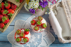 Summer dessert with strawberries and cream Royalty Free Stock Photo