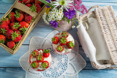Summer dessert with strawberries and cream Royalty Free Stock Image