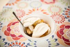 Summer Dessert of Peach Cobbler and Ice Cream royalty free stock photography