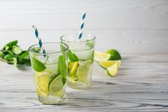 Summer detox healthy organic refreshing water with lemon, lime and mint royalty free stock image