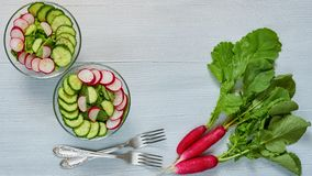Summer detox salad with radish, cucumber, spinach in two glass bowls on the gray kitchen table. Healthy diet breakfast. Decorated with bunch of organic radishes royalty free stock image