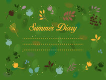 Summer diary inscription with floral background Royalty Free Stock Photo