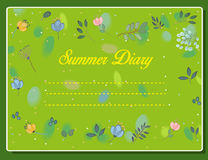 Summer diary. Vintage floral card. Stock Photos