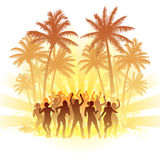 Summer disco. Group of people dancing with the sun in the background Stock Photography