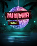 Summer disco background. Disco poster. Nigt summer bar Royalty Free Stock Photos
