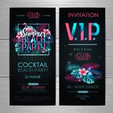 Summer disco beach party typography poster with flamingo and fluorescent tropic leaves. Invitation design. Nature concept. Summer disco beach party typography vector illustration