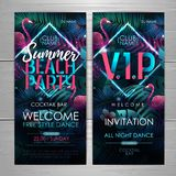 Summer disco beach party typography poster with flamingo and fluorescent tropic leaves. Invitation design. Nature concept. Summer disco beach party typography stock illustration