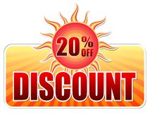 Summer discount and 20 percentages off in label with sun. Summer discount and 20 percentages off banner - text in yellow label with red sun and orange sunrays royalty free illustration