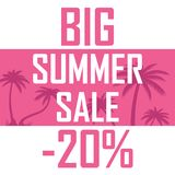 A poster of a large summer sale on the background of pink palms vector illustration