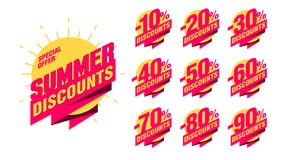 Summer discount banner with percentage set for marketing advertising. Summer discount banner with percentage set -10 -20 -30 -40 -50 -60 -70 -80 -90 on the sun royalty free illustration